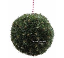 Новогодний шар из искусственной хвои зеленый
