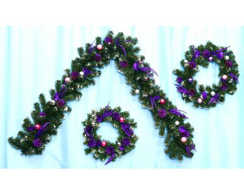 Венок новогодний с декором 30см Коллекция А-2