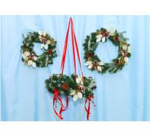 Венок новогодний с декором 30см Коллекция А-8